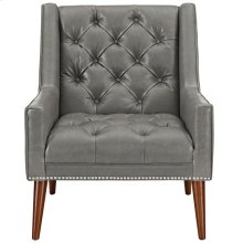 Peruse Faux Leather Armchair in Gray