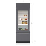 """SUB-ZERO30"""" Classic Over-and-Under Refrigerator/Freezer with Glass Door - Panel Ready"""