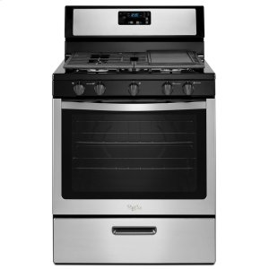 5.1 cu. ft. Freestanding Gas Range with Five Burners - BLACK-ON-STAINLESS