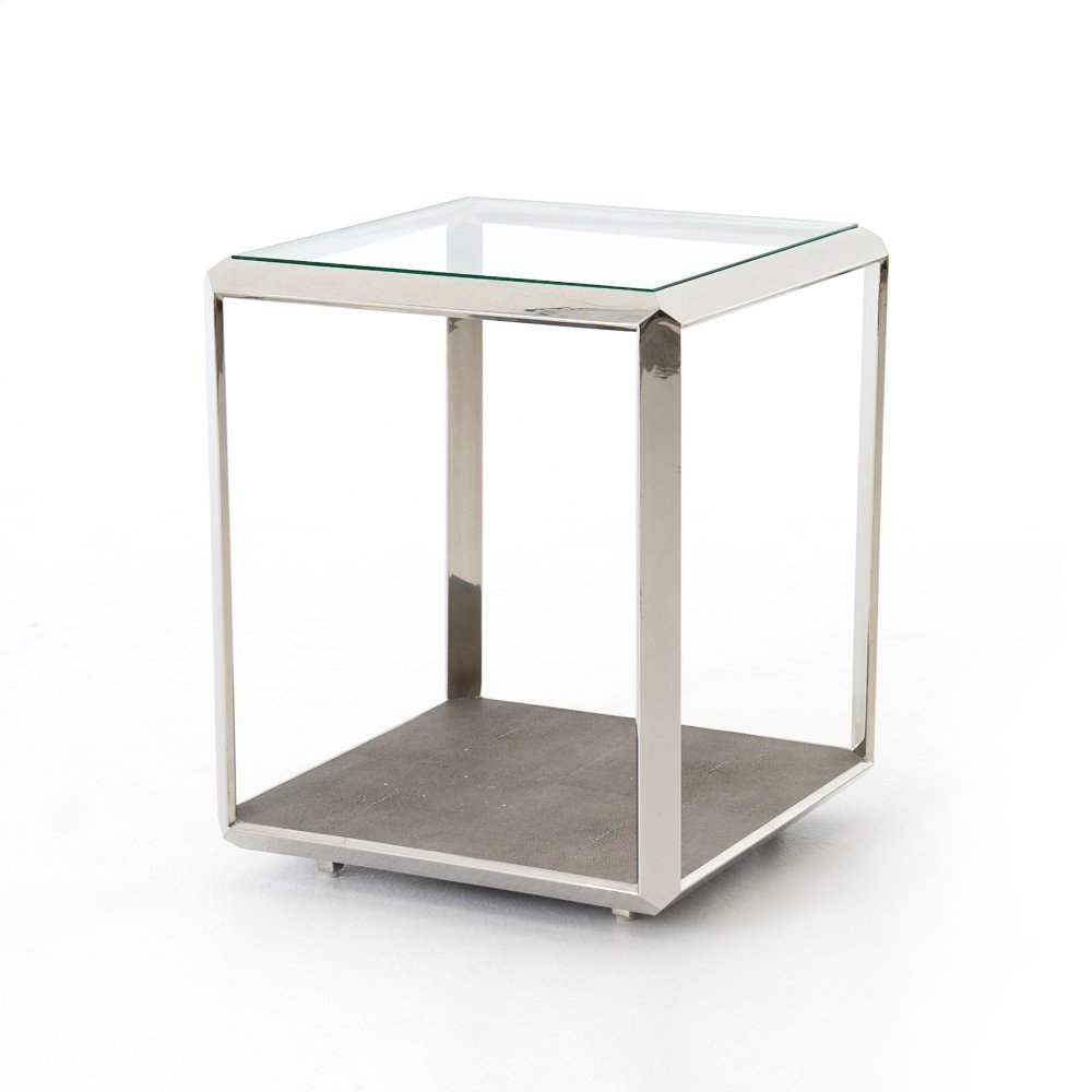 Merveilleux Shagreen Shadow Box End Table Steel
