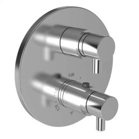 """Aged Brass 1/2"""" Round Thermostatic Trim Plate with Handle"""