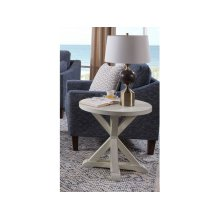 Topsail Plank Round End Table in Seashell