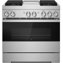 """36"""" NOIR™ Dual-Fuel Professional-Style Range with Chrome-Infused Griddle, NOIR"""