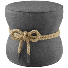 Beat Nautical Rope Upholstered Fabric Ottoman in Gray