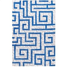 Nahia Geometric Maze 5x8 Area Rug in Ivory, Light Gray and Blue