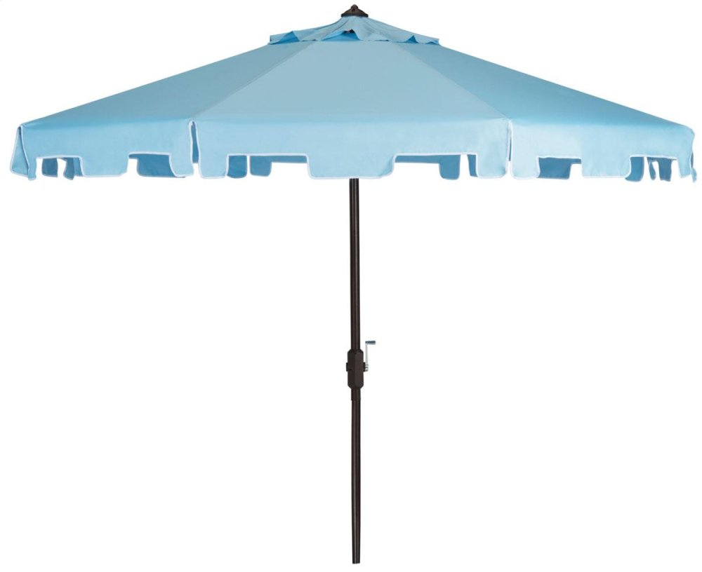 Zimmerman 9 Ft Crank Market Umbrella With Flap - Blue