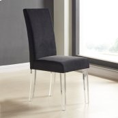 Armen Living Dalia Modern and Contemporary Dining Chair in Black Velvet with Acrylic Legs (Set of 2)