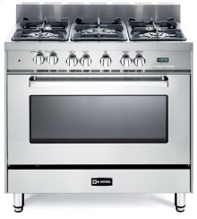 """36"""" Dual Fuel Single Oven Range Stainless Steel 2"""" B/G"""