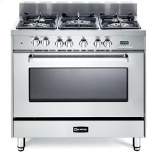 """36"""" Dual Fuel Single Oven Range Stainless Steel 4"""" B/G"""