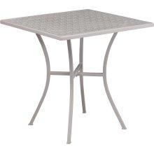 28'' Square Light Gray Indoor-Outdoor Steel Patio Table