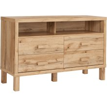Heritage Collection 4 Drawer Dresser with Open Storage in Rustic Oak
