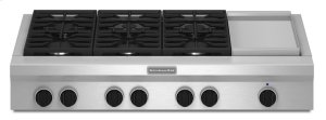 48-Inch 6 Burner with Griddle, Gas Rangetop, Commercial-Style - Stainless Steel