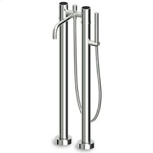Free standing bath-shower mixer with shower set and pillars. Spout projection 220mm.