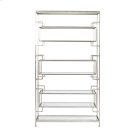 "8 Shelf Leaf Etagere With Glass Shelves. Top, Bottom and Inset Shelves Are 9""h, Two Central Shelves Are 11.5""H. Product Image"