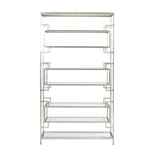 """8 Shelf Leaf Etagere With Glass Shelves. Top, Bottom and Inset Shelves Are 9""""h, Two Central Shelves Are 11.5""""H."""