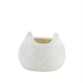 "Ceramic Cat Planter, 6.5"" Beige"