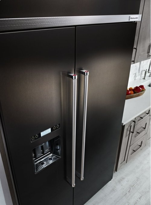 29.5 cu. ft 48-Inch Width Built-In Side by Side Refrigerator with PrintShield Finish - Black Stainless
