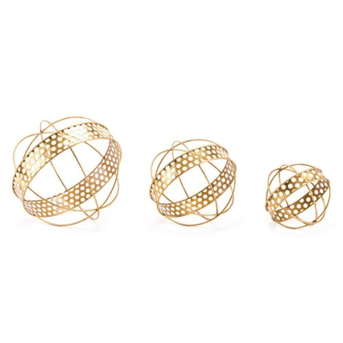 Neptuno Set Of 3 Orbs Gold