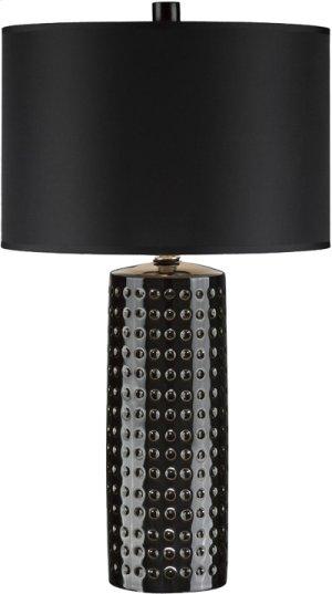 Table Lamp,black Ceramic Body/blk Fabric,e27 Cfl 23w