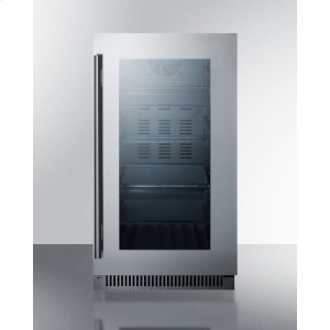 """Summit18"""" Wide Built-in Beverage Center With Seamless Stainless Steel Trimmed Glass Door"""