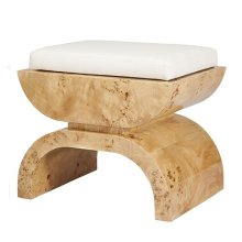 Burl Wood Stool With A White Linen Cushion.