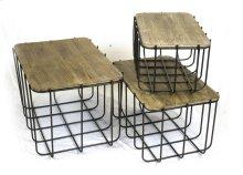 S/3 Metal Baskets W/ Wood Lids
