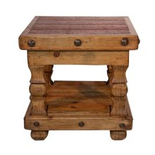 Old Wood End Table W/Shelf
