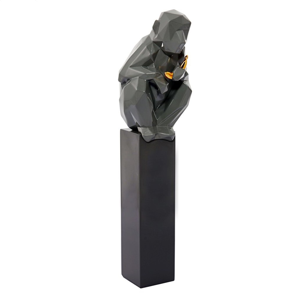 Monkey and Banana Sculpture - Grey and Gold