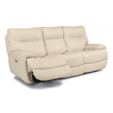Evian Leather Power Reclining Sofa with Power Headrests
