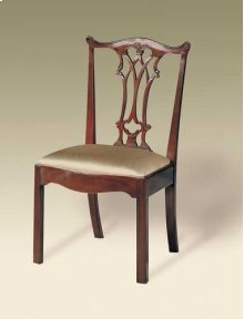 CARVED POLISHED MAHOGANY FINIS H CHIPPENDALE STRAIGHT LEG SID E CHAIR, NEUTRAL UPH
