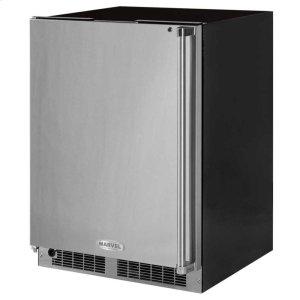"Marvel24"" Professional Freezer - Solid Stainless Steel Door with Lock - Left Hinge, Professional Handle"