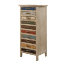 Accent Cabinet W/10 Drawers-multi Colored Pine Wood-set Up