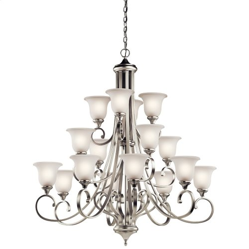 Monroe 16 Light Chandelier with LED Bulbs Brushed Nickel