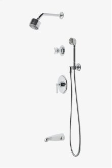 "Transit Pressure Balance Shower Package with 3 1/4"" Shower Head, Handshower, Tub Spout and Diverter Cross Handle STYLE: TRSP23"