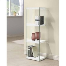 - Three tier bookcase finished in glossy white- Clear tempered glass side panels- Chrome details- Constructed with glass, MDF.- Also available in glossy black (#801257)