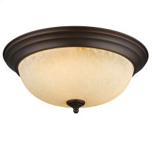 Multi-Family Flush Mount in Rubbed Bronze with Tea Stone Glass