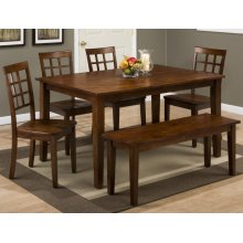 Simplicity Table w/ 4 Grid Back Chairs & Bench
