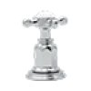 Satin Nickel Perrin & Rowe Edwardian 4-Hole Deck Mount Tub Filler With Handshower With Edwardian Cross Handle