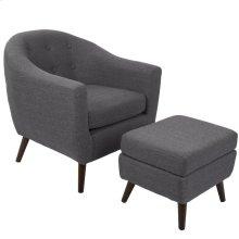 Rockwell Chair + Ottoman Set - Medium Brown Wood, Charcoal Grey Fabric