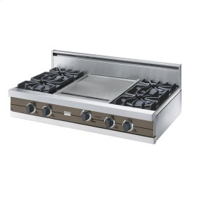 "Stone Gray 42"" Open Burner Rangetop - VGRT (42"" wide, four burners 18"" wide griddle/simmer plate)"