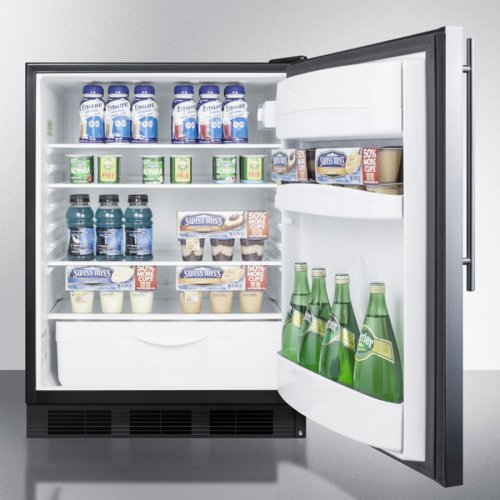 ADA Compliant Commercial All-refrigerator for Freestanding General Purpose Use, Auto Defrost With Stainless Steel Door, Thin Handle, and Black Cabinet