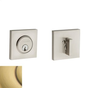 Satin Brass and Brown Contemporary Square Deadbolt
