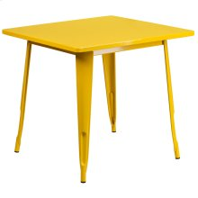 31.5'' Square Yellow Metal Indoor-Outdoor Table