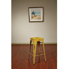 "Bristow 26"" Antique Metal Barstool, Antique Yellow With Blue Specks Finish, 4 Pack"