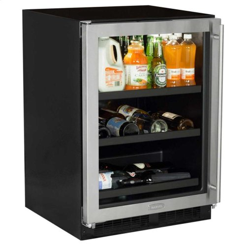 "24"" Beverage Center with Convertible Shelves - Solid Overlay Panel - Integrated Right Hinge"