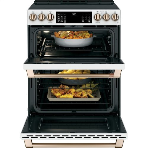 """Café 30"""" Slide-In Front Control Induction and Convection Double Oven Range (OPEN BOX CLOSE OUT)"""