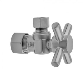"Satin Nickel - Quarter Turn Angle Pattern 5/8"" O.D. Compression (FITS 1/2"" Copper) x 3/8"" O.D. Supply Valve with Contempo Cross Handle"