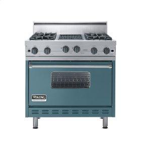 "Iridescent Blue 36"" Open Burner Range - VGIC (36"" wide, four burners 12"" wide char-grill)"