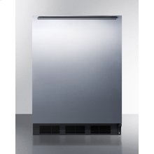 Commercially Listed Freestanding All-refrigerator for General Purpose Use, Auto Defrost W/stainless Steel Wrapped Door, Horizontal Handle, and Black Cabinet