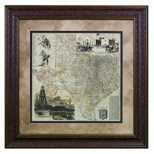 """Small : 25"""" x 31"""" Texas County Map"""